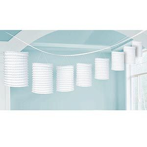 A22055/08 - Lantern Garland - White Lantern Garland White Contains 8 x paper lanterns (10cm x 16cm) on a garland (3.65m) . Please note: approx. 14 day delivery time