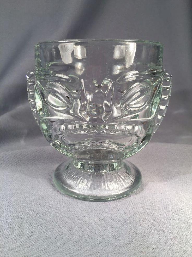 Happy Sad Tiki Glass Clear Footed heavy glass