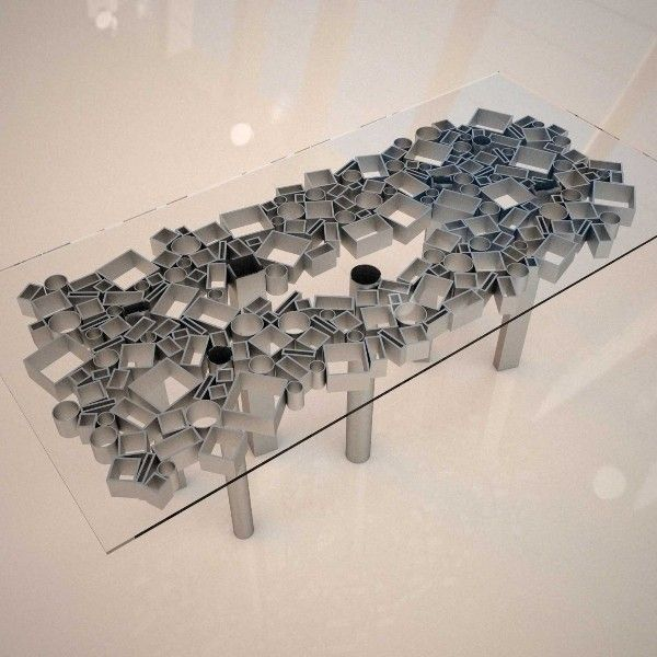 Table Berlino: Design Table Crystal and Steel DIMA art& design