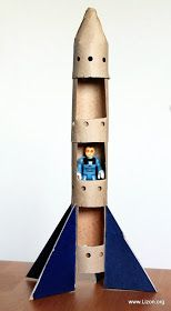 Toilet paper tube rocket! Directions are in Russian, but the pictorial directions are great!