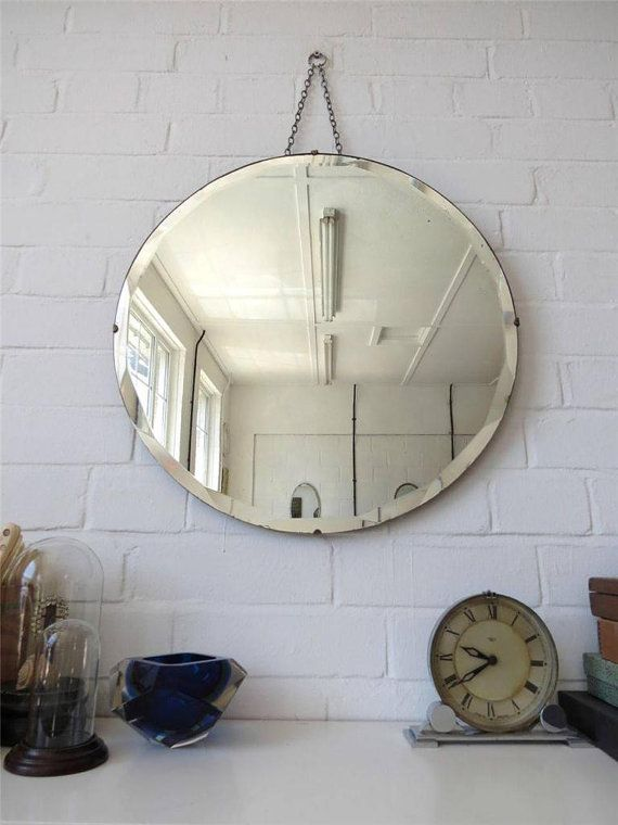 Oversized Round Wall Decor : Vintage round bevelled edge wall mirror large art deco