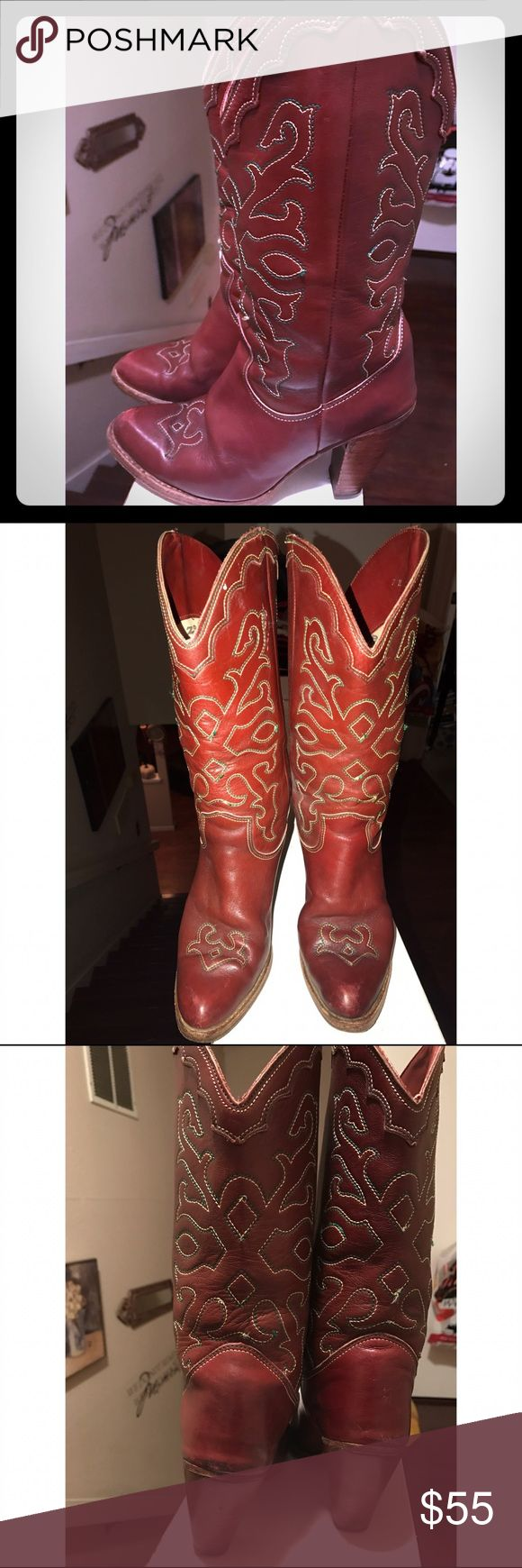 Vintage Zodiac Red Cowboy Heeled  Boots Gorgeous Vintage Red/Cranberry colored cowboy boots with 4 inch heel . Detailed embroidery Gently used . Size 7 Women's Vintage Zodiac Shoes Heeled Boots
