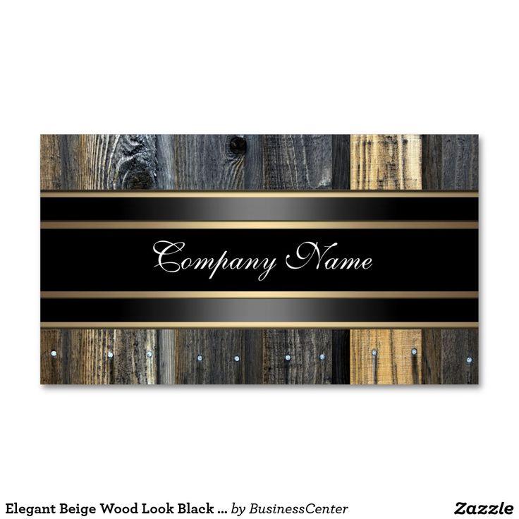 Elegant Beige Wood Look Black Bronze Business Card