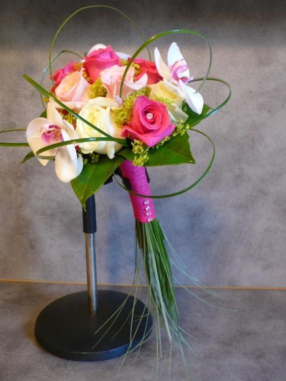 Bouquet mariée roses, orchidée, baergrass