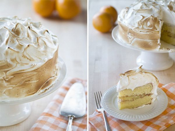 orange cake with italian meringue frosting