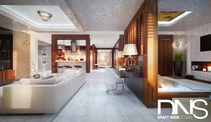 Aranżacja salonu i sypialni - styl nowoczesny