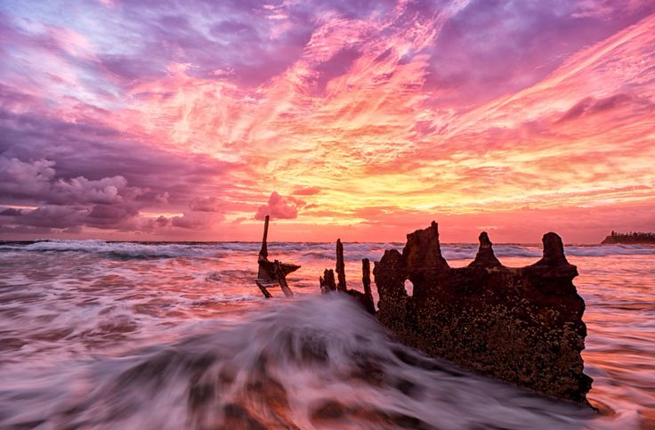 Dicky Beach, Sunshine Coast. The wreck will soon be gone due to bad disintegration in the last few years - make sure you get there before it's gone! http://www.queenslandholidays.com.au/things-to-see-and-do/ss-dicky/index.cfm #thisisqueensland