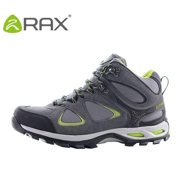 RAX Winter Waterproof Hiking Shoes Men Warm Hiking Boots Genuine Leather Climbing Trekking Outdoor Hiking Boots Men Sport Shoes
