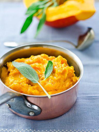 Purée de potimarron à l'ail et au thym (thym, crême fraîche, pomme de terre, potimarron, ail, sel)