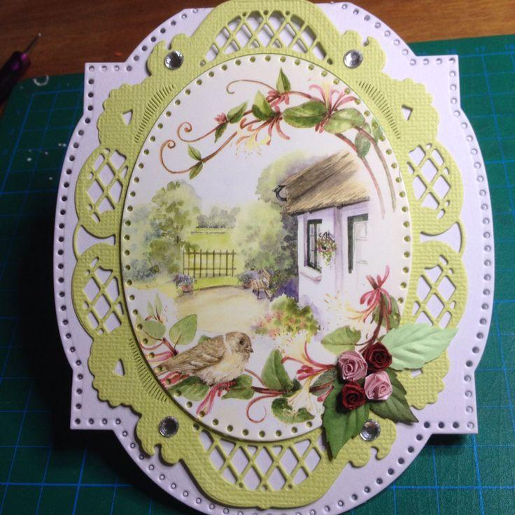 Card, spring, roses, bird, House, romantic