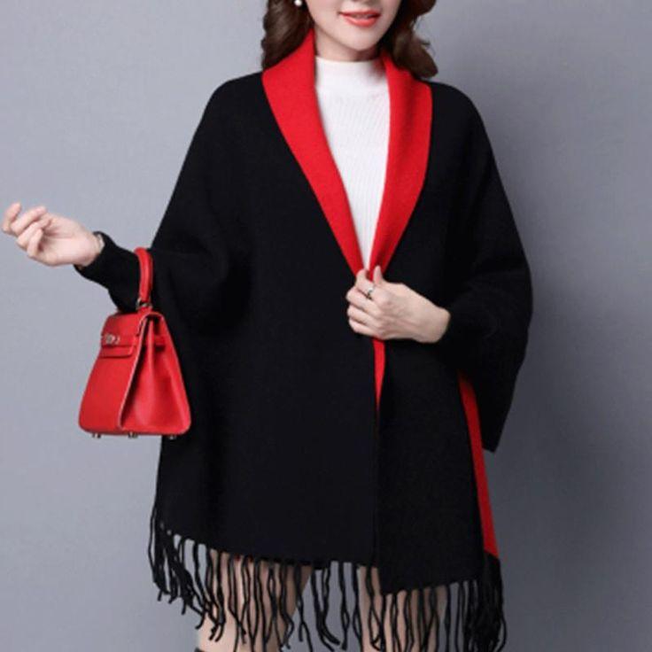 Tassel Sweater Thick Cape Coat
