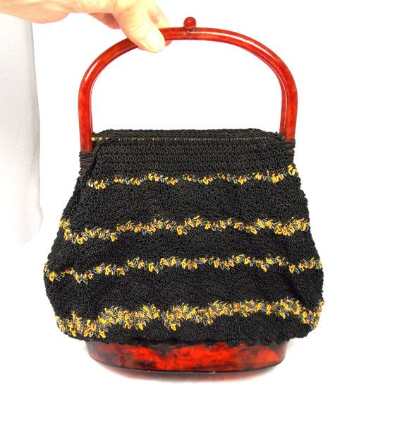Vintage  Black Crochet Hand Bag Purse Amber Double Handles Marbled Bottom