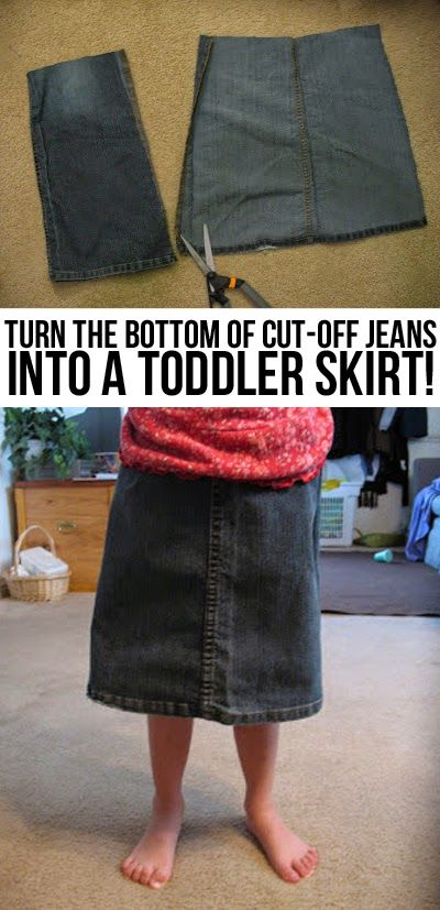 Cut-off jeans for you... toddler skirt for your little girl! #repurpose #upcycle #denim