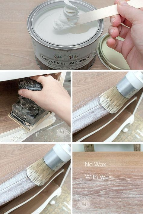 Best tutorial on How Annie Sloan White Wax can be used on raw wood. This creates the most amazing limed wood effect!   Salvaged Inspirations