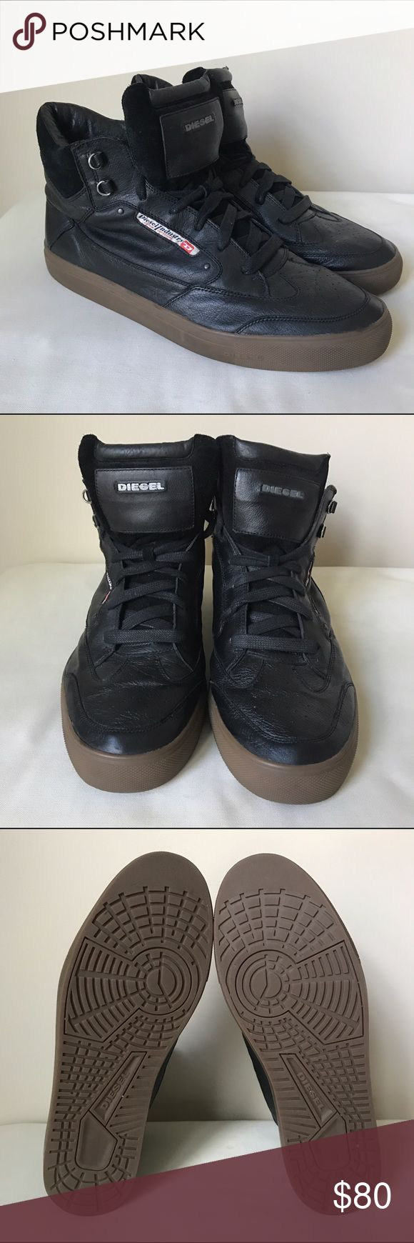 DIESEL Men's High Top Sneakers in Black DIESEL Men's High Top Sneakers in black leather/Suede. Good used condition Diesel Shoes Sneakers