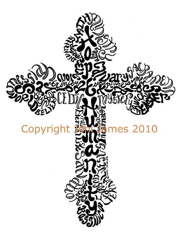Religious Cross Drawing Word Art Calligraphy by CalligramORama, $19.50