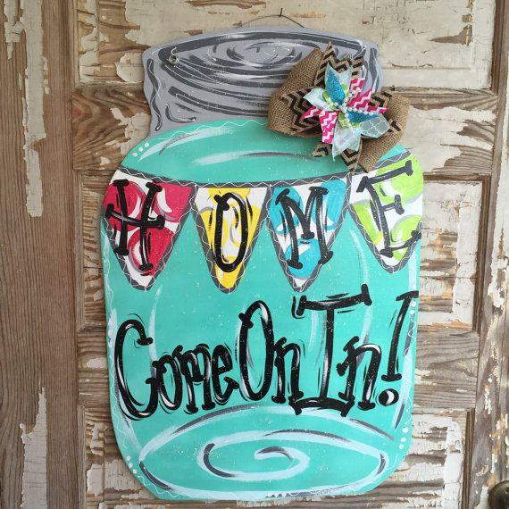 Mason jar door hanger summerdoor hanger spring door for Door hanger design ideas
