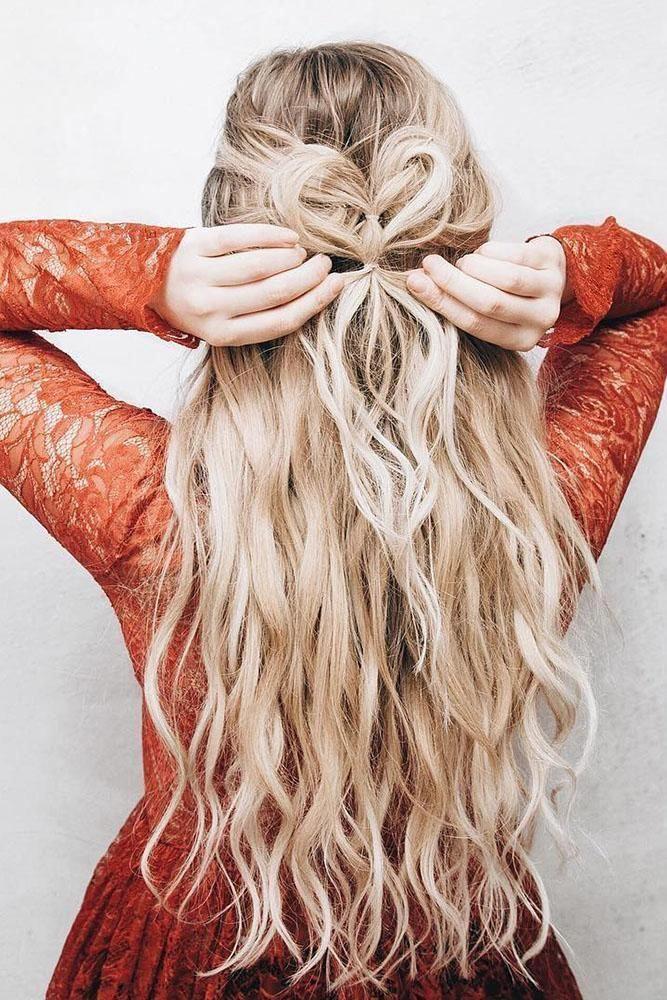 Valentine's Day Hairstyles ❤️ valentines day hairstyles long wavy blonde hair heart shaped half up half down kassinka #weddingforward #wedding #br