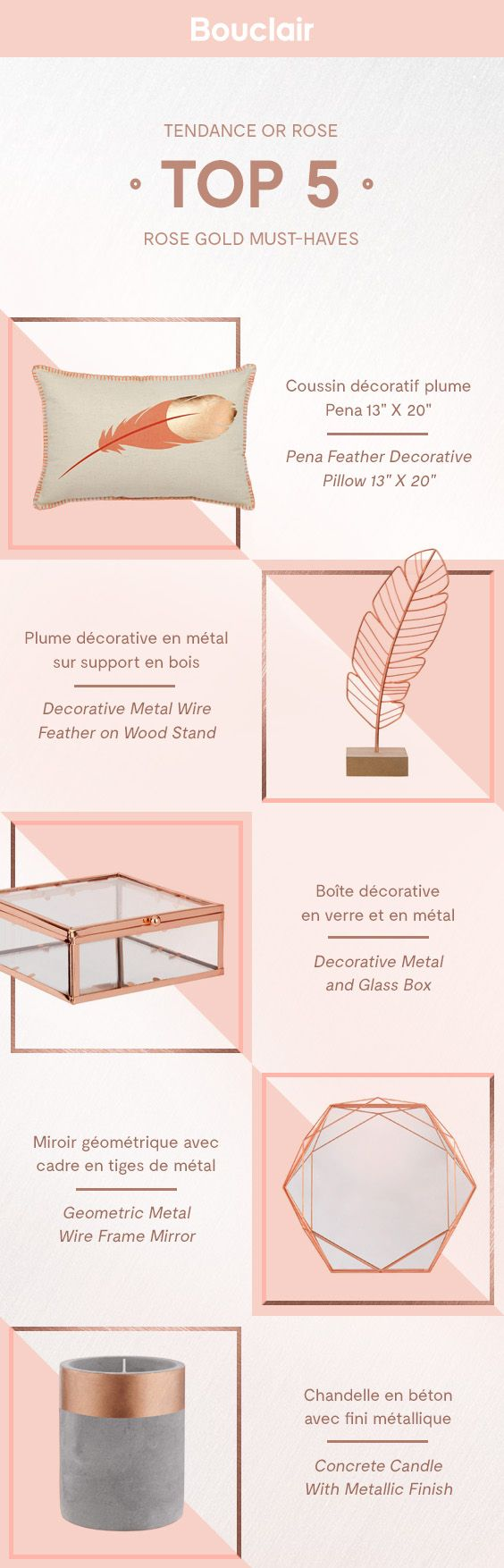 Top 5 Rose gold decor must-have for your home. Notre top 5    d'articles Bouclair en or rose !