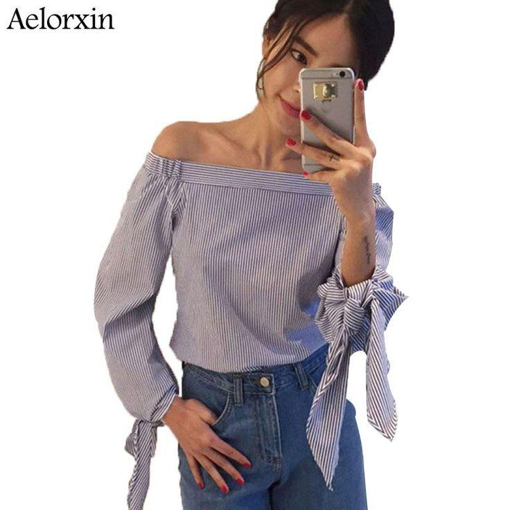Blouses & Shirts. Women Blouse Elegant Bow Blue Off Shoulder Female Blouse Shirt Sexy Summer 2017 Girls White blouse Women Tops Striped Blusas 3XL. #Blouses & Shirts