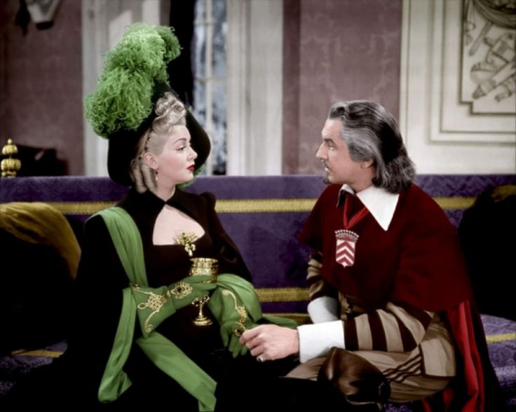 "Lana Turner and Vincent Price in ""The Three Musketeers"" (1948)."