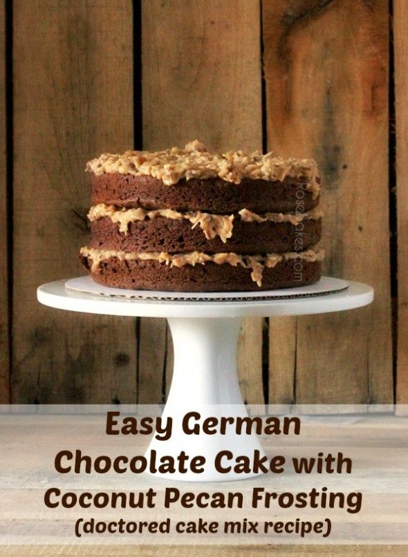 German Chocolate Cake - this Easy German Chocolate Cake with Coconut Pecan Frosting is a cake mix recipe that is super delicious! Click over for the recipe.