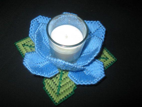 Sostenedor de vela floral de lona pl stica manualidades - Lonas de plastico ...