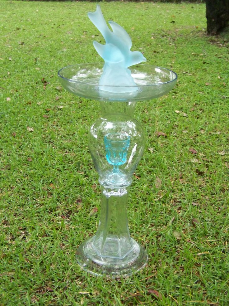 clear glass with turquoise glass bird, bird bath/feeder SOLD ...
