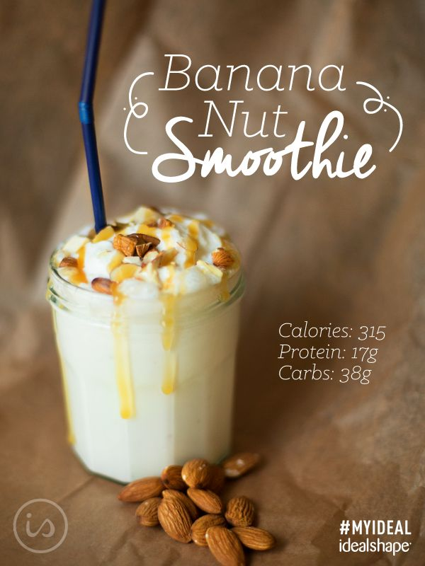 Banana Nut (perfect pre/post workout smoothie): 1 scoop Vanilla IdealShake mix, 1 cup unsweetened almond milk, 1 tbs. almond butter, 1/2 banana. Add ice, blend and top with sugar-free caramel syrup :)