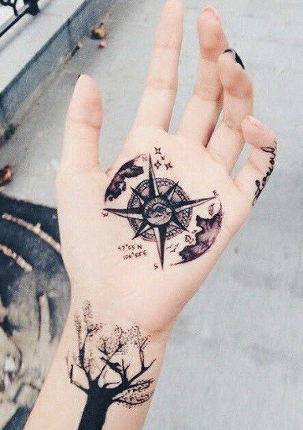 Compass Star Hand Tattoos for Girls.