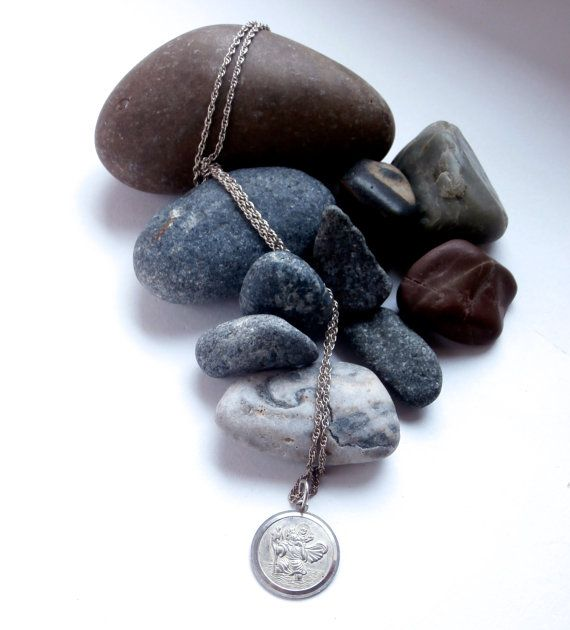 Silver St Christopher Necklace Vintage by ReTainReUse on Etsy