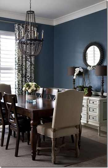 adding two statement chairs to table on the ends to break up the brown table/chairs.  Dining Room color