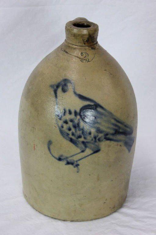Antique American Stoneware Crock Jug w/ Bird