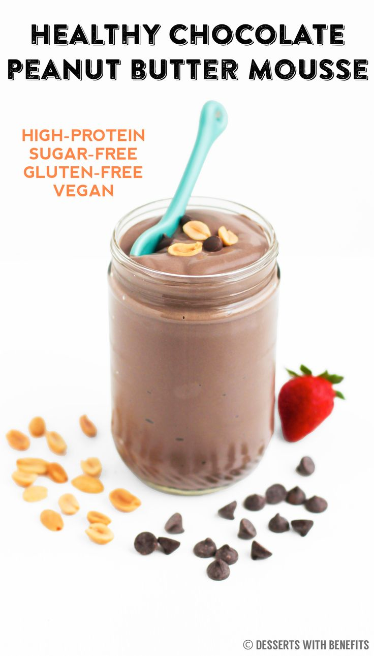HEALTHY Chocolate Peanut Butter Mousse — 5 ingredient decadence right here!  None of the sugar, heavy cream, cream cheese or butter, but ALL of the sweetness, creaminess, thickness and richness. [sugar free, low carb, high protein, gluten free, vegan] -- Save on calories, splurge on flavor!
