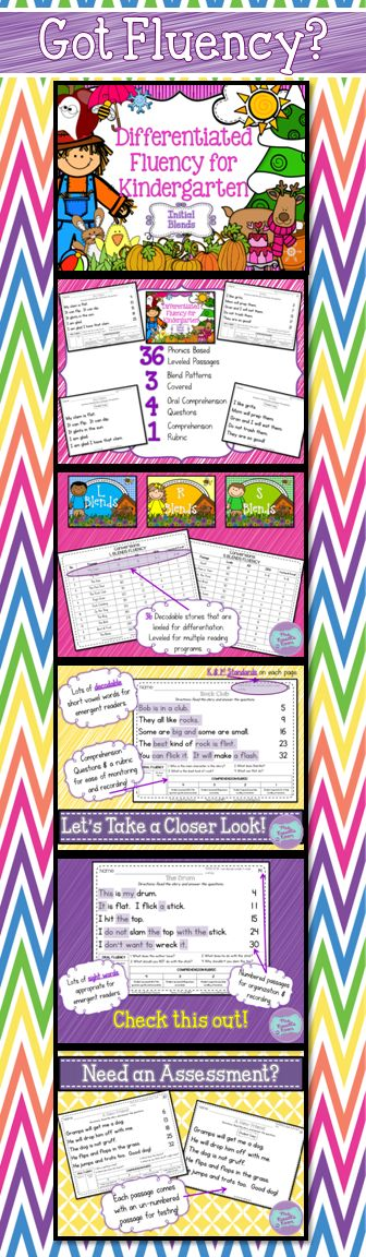 Differentiated Fluency for Kinders: Blends Edition!  This pack features 36 fluency passages that are phonetically based on blends with short vowels and kindergarten sight words.  Would be appropriate for emergent readers. ($) http://www.teacherspayteachers.com/Product/Differentiated-Fluency-for-Kinders-Initial-Blends-Pack-1223603