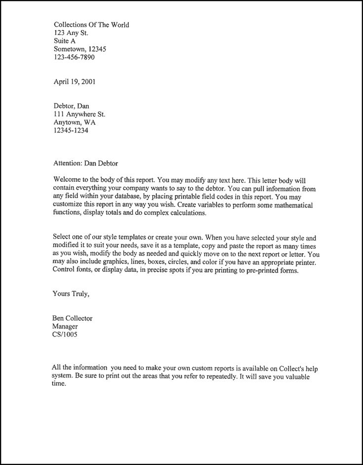 Printable Sample Business Letter Template Form