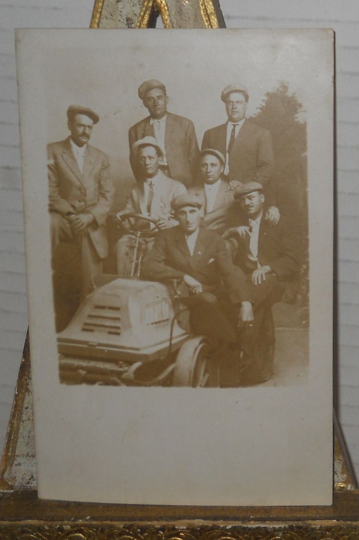 Real Photo Postcard~Forest Park Chicago Souvenir Men on Tractor/Scooter by memoriestreasures on Etsy