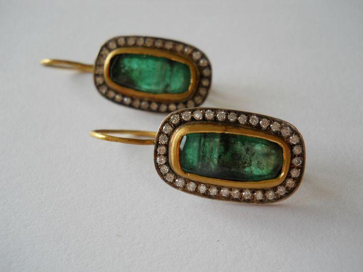 Pamela Harari's Emerald & Diamond Earrings
