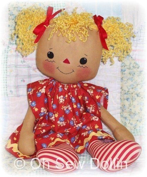 Cloth Doll Pattern, Rag doll pattern, PDF Sewing Pattern, raggedy ann, annie…