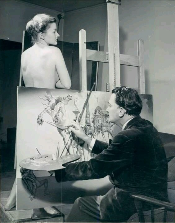 Salvador Dali painting the tempation of Saint Anthony