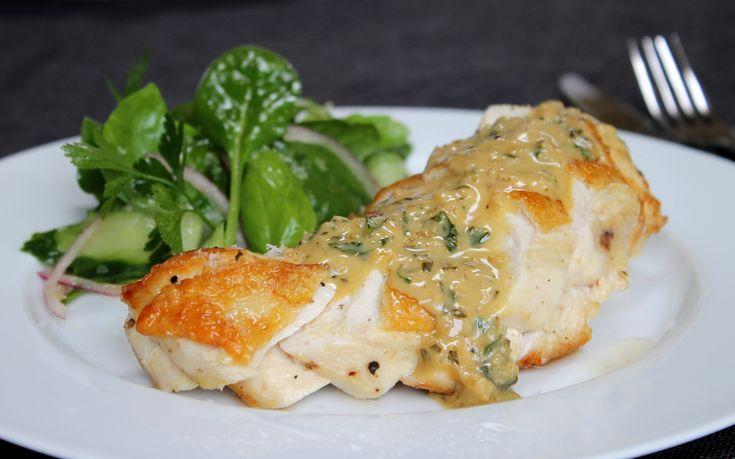 Roasted chicken breast with creamy garlic & herb sauce