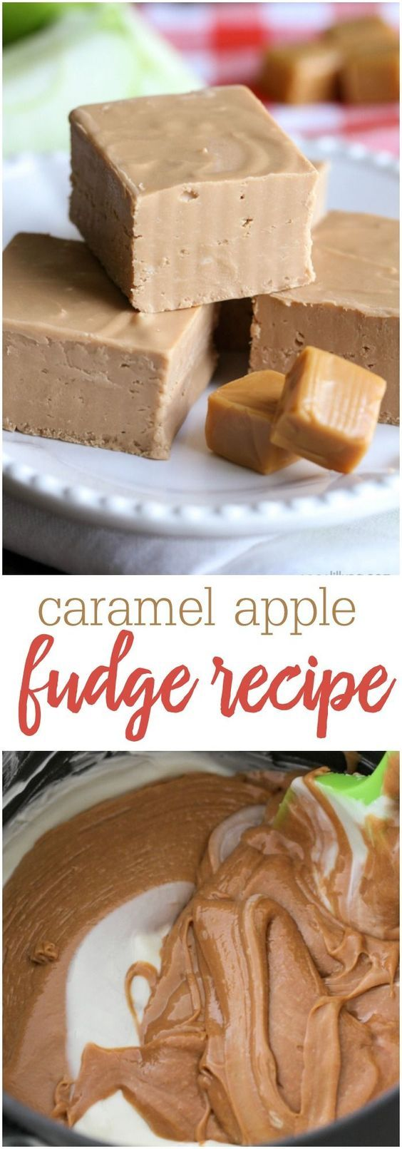 2-Ingredient Caramel Apple Fudge - so good and so easy to make!! Get the recipe on {2-Ingredient Caramel Apple Fudge - so good and so easy to make!! Get the recipe on {lilluna.com} All you need is some caramel apple frosting and white chocolate chips!!