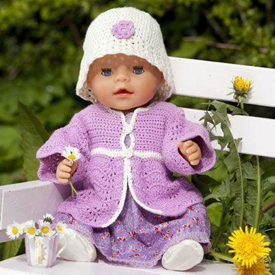 Hæklet jakke og hat til Baby Born