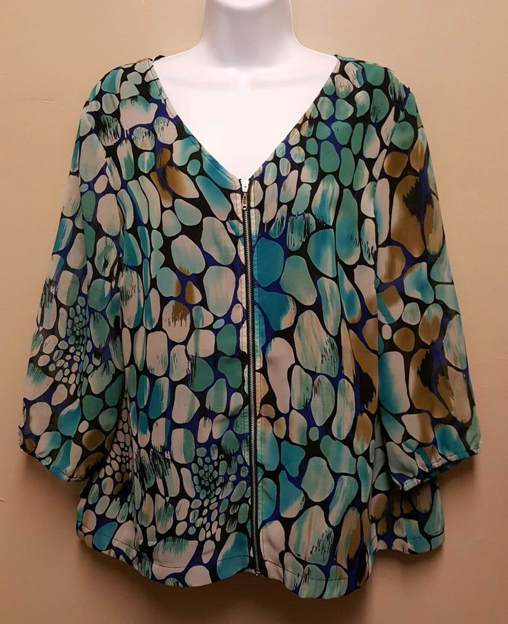 Christopher & Banks LARGE Blue Animal Print Zip Up Top Blouse Shirt Sheer Sleeve #ChristopherBanks #Blouse #EveningOccasion