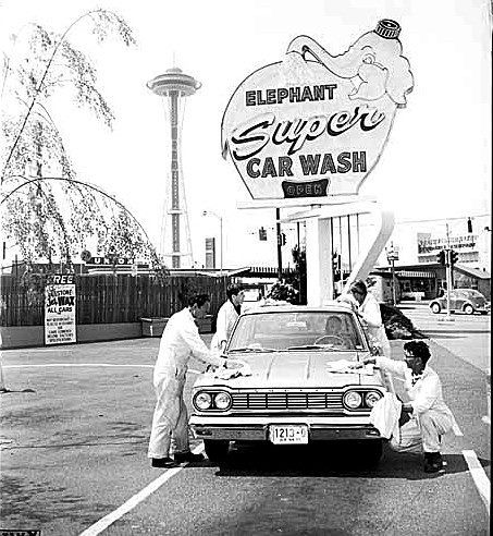 elephant car wash on denny way in 1965 its still there via vintage king
