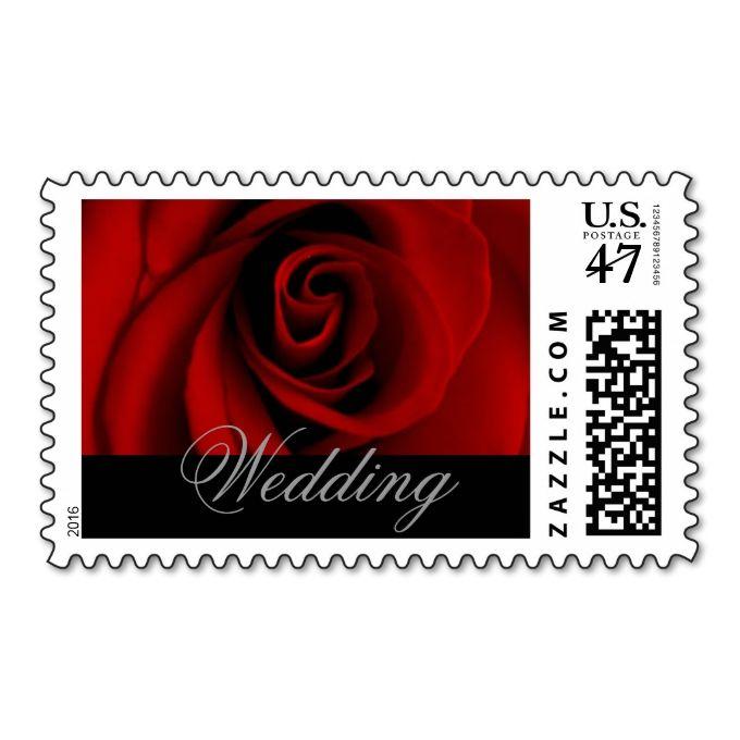 Wedding Postage Stamps Red Rose
