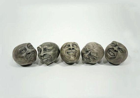 Cement Heads, Group of Five Package Deal, Choose Your Color, Fun Cement Heads, Unique Home Decor, Eclectic Home Decor, Eclectic Sculpture