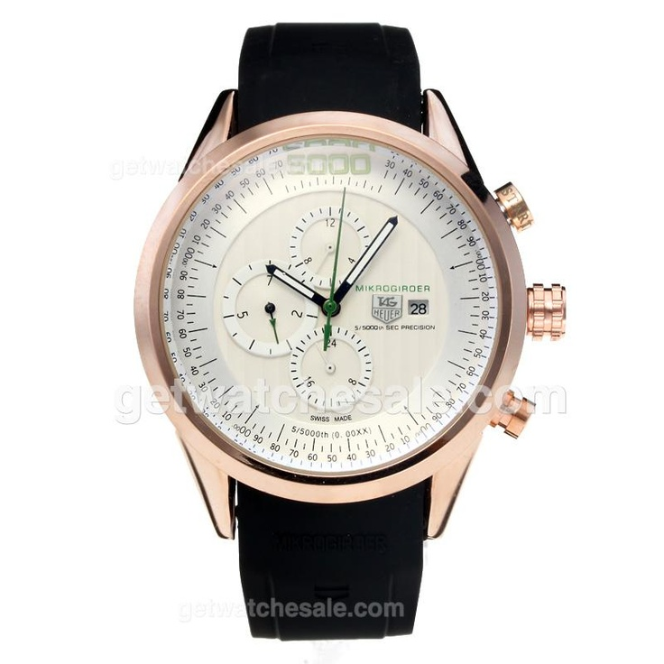 Tag Heuer Mikrogirder 5000 Automatic Rose Gold Case With White