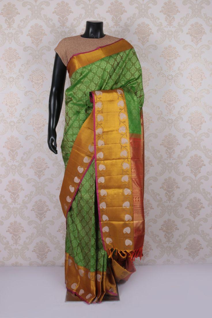 #Green multicoloured pure kanchipuram #silk tantalizing #saree with antique #gold multicoloured border -SR11548