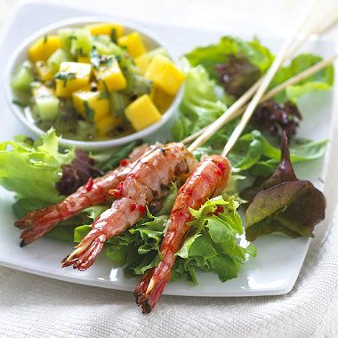 Delicious BBQ recipe - Tasty Tiger Prawn Skewers with Salsa.